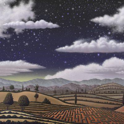 Paysage seul nuit etoiles nuages