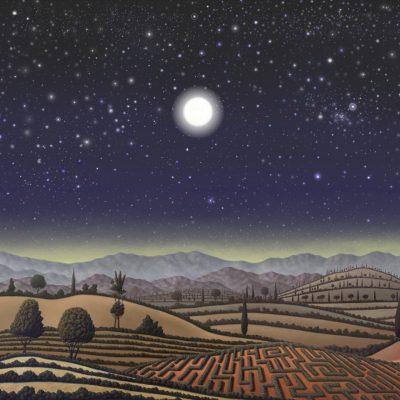 Paysage seul nuit etoiles pleine lune