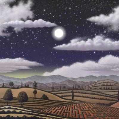 Paysage seul nuit nuages pleine lune